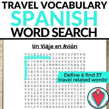 Spanish Travel Activity WORD SEARCH - Un Viaje en Avion