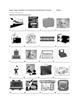 Buen Viaje 1 Chapter 13 Vocabulary Identification Practice/Quiz