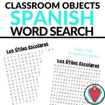 Spanish Classroom Objects WORD SEARCH