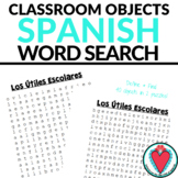 Spanish Class Objects Vocabulary Word Search - Easy Spanis