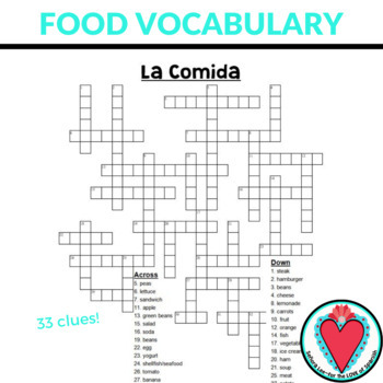Spanish Food La Comida CROSSWORD