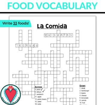 Spanish Food Unit CROSSWORD