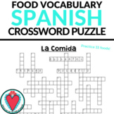 Spanish Food Vocabulary - Spanish Crossword Puzzle