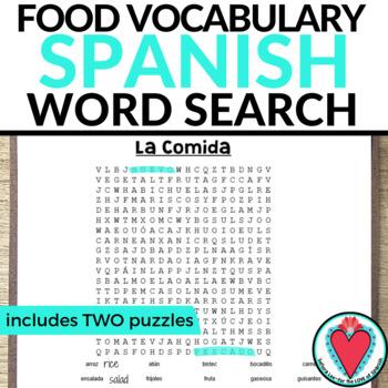 Spanish Food WORD SEARCH La Comida