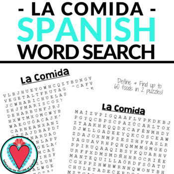 Spanish Food WORD SEARCH