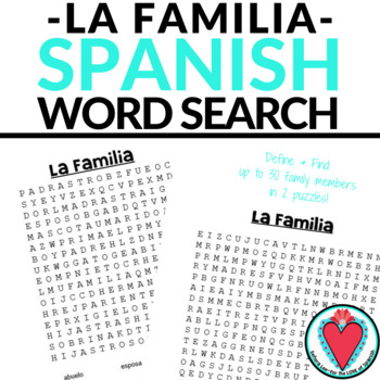 Spanish Family WORD SEARCH