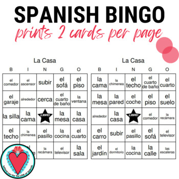 Spanish Bingo: House Vocabulary | Mi Casa