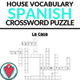 Spanish House Vocabulary - Crossword Puzzle