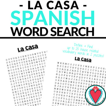 Spanish House WORD SEARCH La Casa