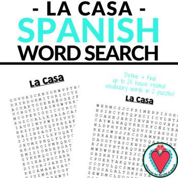 Spanish House WORD SEARCH La Casa