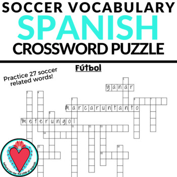 Spanish Soccer Vocabulary CROSSWORD | Fútbol