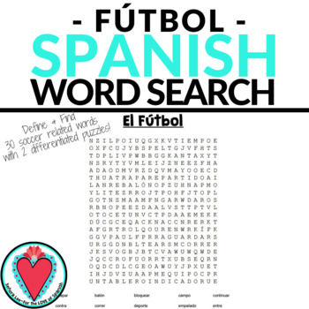 Spanish Soccer Vocabulary WORD SEARCH