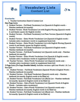Buen Viaje 2 Chapter 2 - Set of Vocabulary Lists