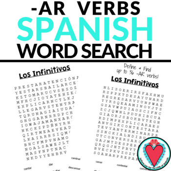 Spanish AR Verbs WORD SEARCH - Spanish Infinitives
