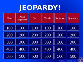 Buen Viaje - Level 1 Chapter 2 Jeopardy Review