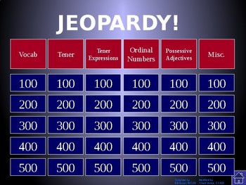 Buen Viaje Level 1 - Chapter 6 Jeopardy Review Game