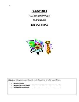 Buen Viaje Level 2 Unit 4 Skeletal Notes (Vocab Shopping  Preterite v Imperfect)