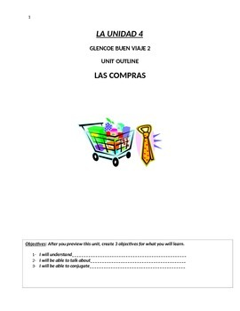 Buen Viaje Level 2 Unit 4 Skeletal Notes (Vocab Shopping