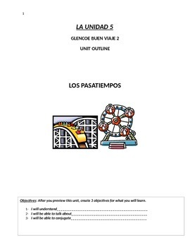 Buen Viaje Level 2 Unit 5 Skeletal Notes (Vocab Passtimes & Future Tense)