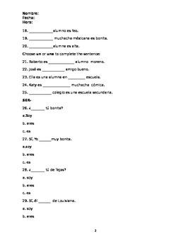 Buen Viaje Level Chapter 1 Test 1 version