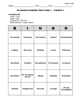 Buen Viaje Spanish 1 - Chapter 1 - Bingo Cards