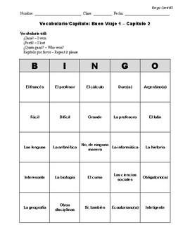 Buen Viaje Spanish 1 - Chapter 2 - Bingo Cards Set