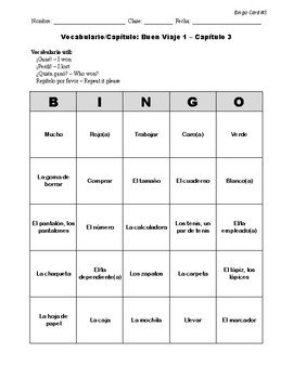 Buen Viaje Spanish 1 - Chapter 3 - Bingo Cards Set