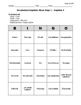 Buen Viaje Spanish 1 - Chapter 5 - Bingo Cards Set