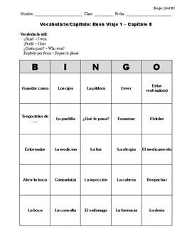 Buen Viaje Spanish 1 - Chapter 8 - Bingo Cards Set