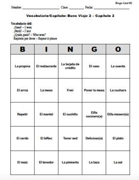 Buen Viaje Spanish 2 - Chapter 2 - Bingo Cards Set