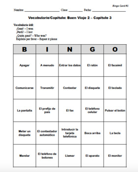 Buen Viaje Spanish 2 - Chapter 3 - Bingo Cards Set