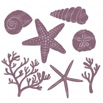 Buff Coral & Seashells Clipart