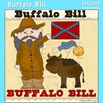 Buffalo Bill Cowboy US History Wild West Color Clip Art  C. Seslar
