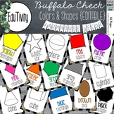 Buffalo Check Colors and Shapes Posters {Editable}