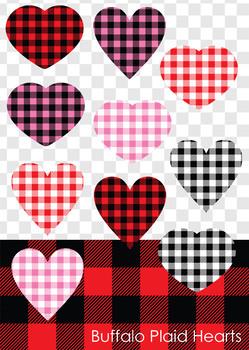 Buffalo Check Plaid Heart Clip Art