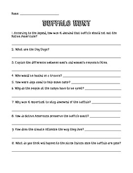 Buffalo Hunt Comprehension Questions