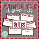 Buffalo Plaid Classroom Rules, Secondary (Editable)
