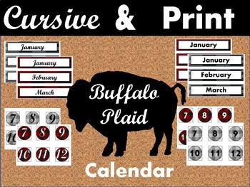 Buffalo Plaid Cursive and Print Classroom Calendar Kit