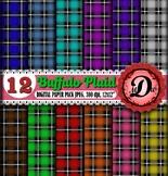 Buffalo Plaid Digital Paper, checkered, lumberjack, Rustic