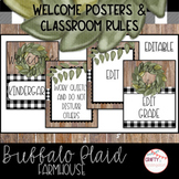 Buffalo Plaid Farmhouse - Welcome Posters and Classroom Rules (Editable)