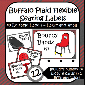 Buffalo Plaid Flexible Seating Lables