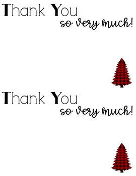 Buffalo Plaid Holiday and Christmas Thank You Cards FREEBIE