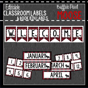 Buffalo Plaid Moose Classroom Decor & Book Bin BUNDLE