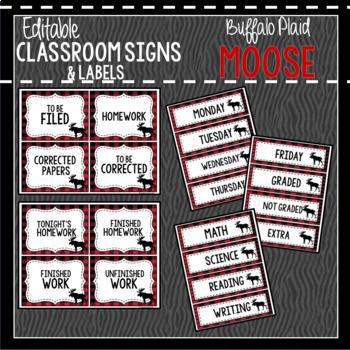 Buffalo Plaid Moose Classroom Decor, Signs and Labels: Editable