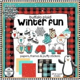 "Buffalo Plaid Winter Fun Frames Papers & ""Puffy' Stickers"