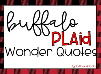 Buffalo Plaid Wonder Quotes
