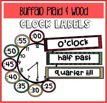 Buffalo Plaid & Wood Clock Labels! (Pairs with Camping or Woodland Themes!)