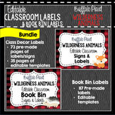 Buffalo Plaid Woodland Animals Classroom Decor & Book Bin BUNDLE