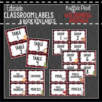 Buffalo Plaid Woodland Animals Classroom Decor & Book Bin BUNDLE