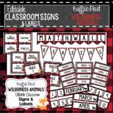 Buffalo Plaid Woodland Animals Classroom Decor, Signs and Labels: Editable